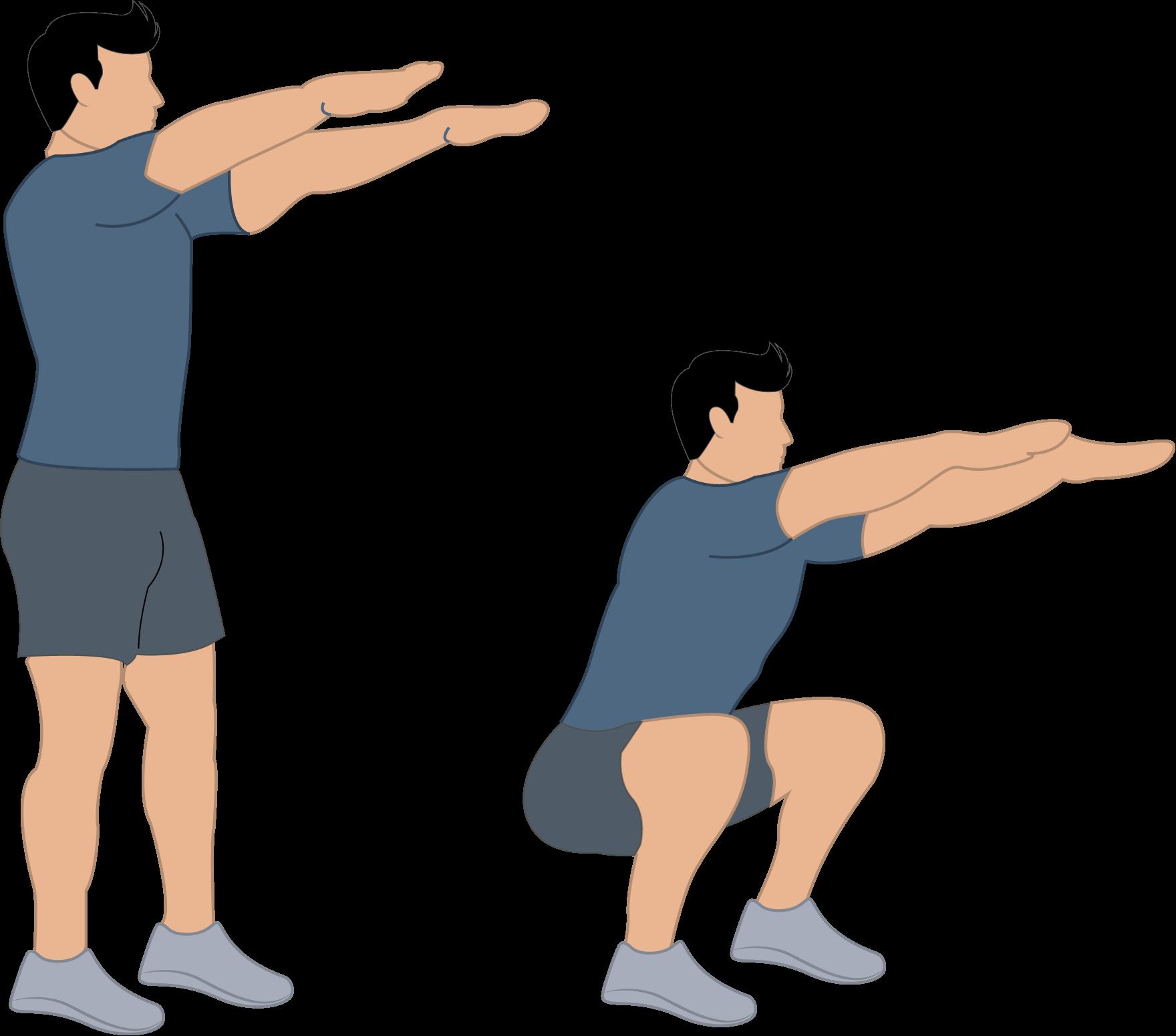 Exercice du squat au poids du corps