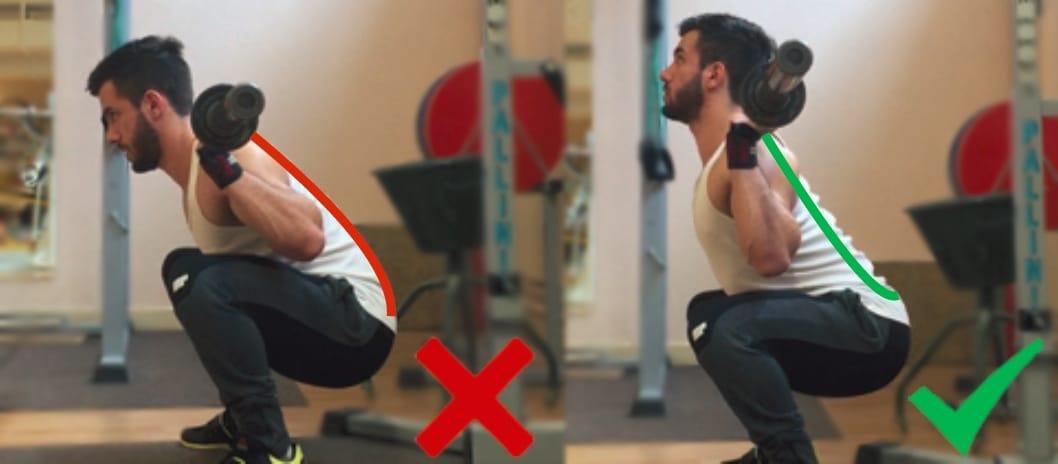 Position du dos squat