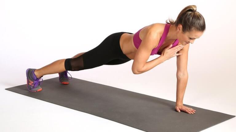 Gainage planche avec tapes d'épaule